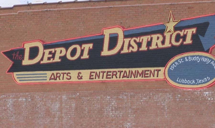 The Depot District logo on brick wall